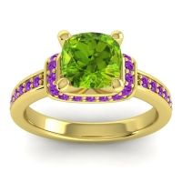 Halo Cushion Aksika Peridot Ring with Amethyst in 14k Yellow Gold