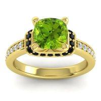 Halo Cushion Aksika Peridot Ring with Black Onyx and Diamond in 18k Yellow Gold