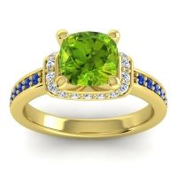 Halo Cushion Aksika Peridot Ring with Diamond and Blue Sapphire in 14k Yellow Gold