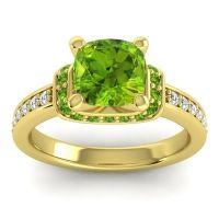 Halo Cushion Aksika Peridot Ring with Diamond in 18k Yellow Gold