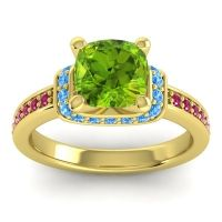 Halo Cushion Aksika Peridot Ring with Swiss Blue Topaz and Ruby in 18k Yellow Gold