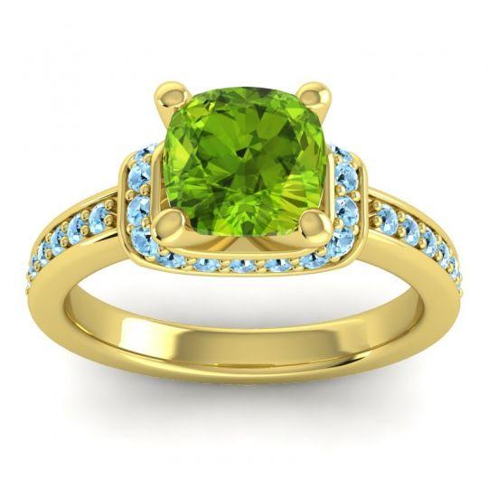 Halo Cushion Aksika Peridot Ring with Aquamarine in 18k Yellow Gold