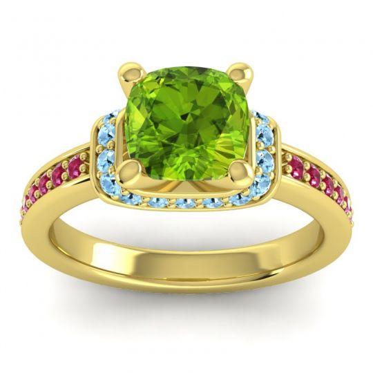 Halo Cushion Aksika Peridot Ring with Aquamarine and Ruby in 14k Yellow Gold