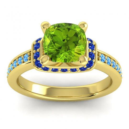 Halo Cushion Aksika Peridot Ring with Blue Sapphire and Swiss Blue Topaz in 14k Yellow Gold