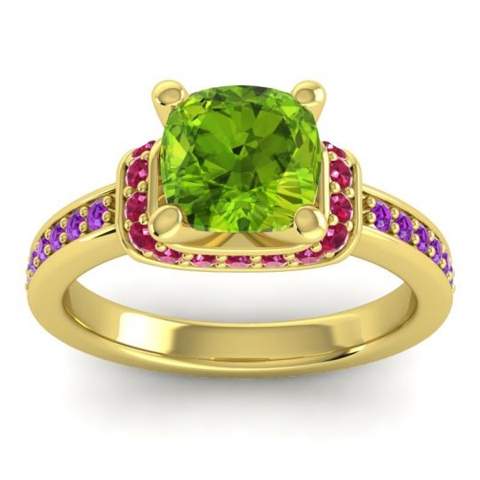 Halo Cushion Aksika Peridot Ring with Ruby and Amethyst in 18k Yellow Gold