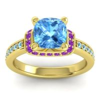 Halo Cushion Aksika Swiss Blue Topaz Ring with Amethyst and Aquamarine in 14k Yellow Gold