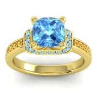 Halo Cushion Aksika Swiss Blue Topaz Ring with Aquamarine and Citrine in 14k Yellow Gold