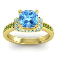 Halo Cushion Aksika Swiss Blue Topaz Ring with Aquamarine and Peridot in 18k Yellow Gold