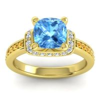 Halo Cushion Aksika Swiss Blue Topaz Ring with Diamond and Citrine in 18k Yellow Gold