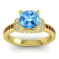 Halo Cushion Aksika Swiss Blue Topaz Ring with Diamond and Garnet in 14k Yellow Gold
