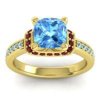 Halo Cushion Aksika Swiss Blue Topaz Ring with Garnet and Aquamarine in 14k Yellow Gold
