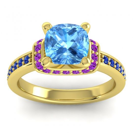 Halo Cushion Aksika Swiss Blue Topaz Ring with Amethyst and Blue Sapphire in 18k Yellow Gold