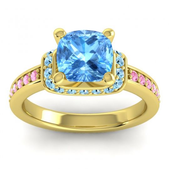 Halo Cushion Aksika Swiss Blue Topaz Ring with Aquamarine and Pink Tourmaline in 14k Yellow Gold