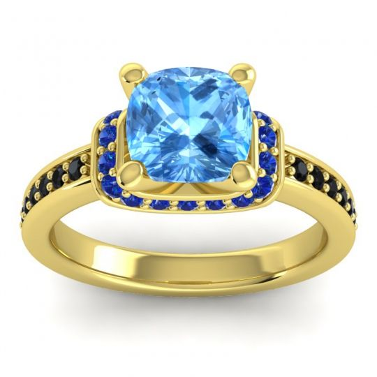 Halo Cushion Aksika Swiss Blue Topaz Ring with Blue Sapphire and Black Onyx in 14k Yellow Gold