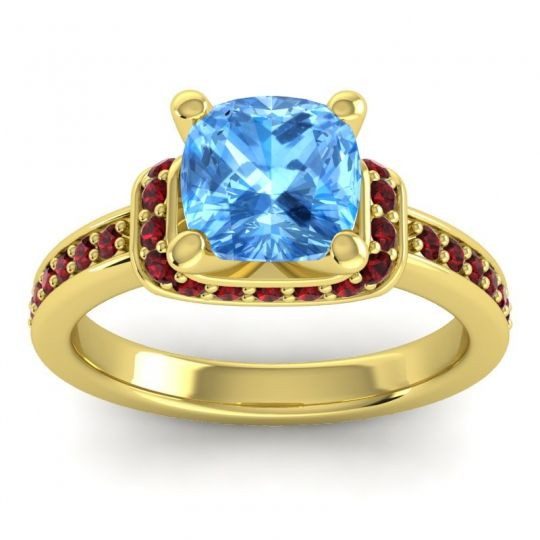 Halo Cushion Aksika Swiss Blue Topaz Ring with Garnet in 18k Yellow Gold