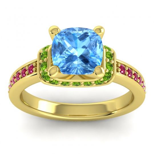 Halo Cushion Aksika Swiss Blue Topaz Ring with Peridot and Ruby in 14k Yellow Gold