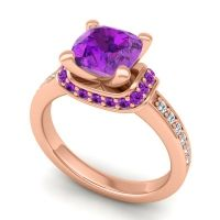 Halo Cushion Aksika Amethyst Ring with Diamond in 18K Rose Gold