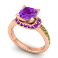Halo Cushion Aksika Amethyst Ring with Peridot in 18K Rose Gold