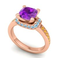 Halo Cushion Aksika Amethyst Ring with Aquamarine and Citrine in 14K Rose Gold