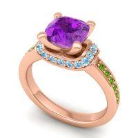 Halo Cushion Aksika Amethyst Ring with Aquamarine and Peridot in 14K Rose Gold