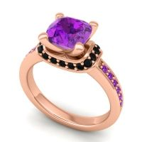 Halo Cushion Aksika Amethyst Ring with Black Onyx in 18K Rose Gold