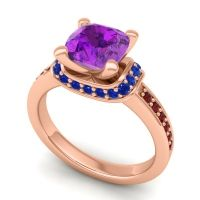 Halo Cushion Aksika Amethyst Ring with Blue Sapphire and Garnet in 14K Rose Gold