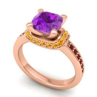 Halo Cushion Aksika Amethyst Ring with Citrine and Garnet in 14K Rose Gold