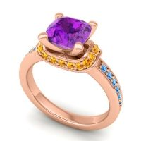 Halo Cushion Aksika Amethyst Ring with Citrine and Swiss Blue Topaz in 14K Rose Gold