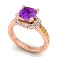 Halo Cushion Aksika Amethyst Ring with Diamond and Citrine in 14K Rose Gold
