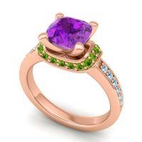 Halo Cushion Aksika Amethyst Ring with Peridot and Aquamarine in 14K Rose Gold