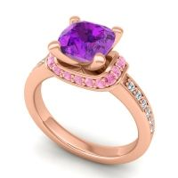 Halo Cushion Aksika Amethyst Ring with Pink Tourmaline and Diamond in 18K Rose Gold