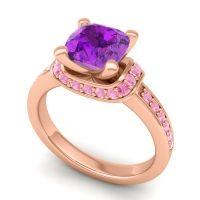 Halo Cushion Aksika Amethyst Ring with Pink Tourmaline in 18K Rose Gold