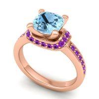 Halo Cushion Aksika Aquamarine Ring with Amethyst in 18K Rose Gold