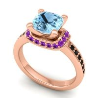 Halo Cushion Aksika Aquamarine Ring with Amethyst and Black Onyx in 14K Rose Gold