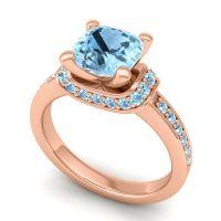 Halo Cushion Aksika Aquamarine Ring in 14K Rose Gold