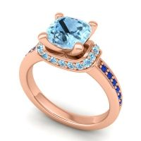 Halo Cushion Aksika Aquamarine Ring with Blue Sapphire in 18K Rose Gold