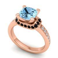 Halo Cushion Aksika Aquamarine Ring with Black Onyx and Diamond in 18K Rose Gold