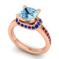 Halo Cushion Aksika Aquamarine Ring with Blue Sapphire and Garnet in 18K Rose Gold