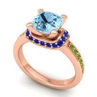Halo Cushion Aksika Aquamarine Ring with Blue Sapphire and Peridot in 18K Rose Gold