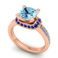 Halo Cushion Aksika Aquamarine Ring with Blue Sapphire and Swiss Blue Topaz in 18K Rose Gold