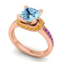 Halo Cushion Aksika Aquamarine Ring with Citrine and Amethyst in 14K Rose Gold