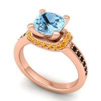 Halo Cushion Aksika Aquamarine Ring with Citrine and Black Onyx in 18K Rose Gold