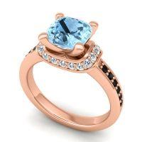 Halo Cushion Aksika Aquamarine Ring with Diamond and Black Onyx in 14K Rose Gold