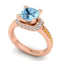 Halo Cushion Aksika Aquamarine Ring with Diamond and Citrine in 14K Rose Gold