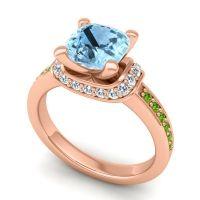 Halo Cushion Aksika Aquamarine Ring with Diamond and Peridot in 18K Rose Gold