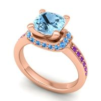 Halo Cushion Aksika Aquamarine Ring with Swiss Blue Topaz and Amethyst in 18K Rose Gold