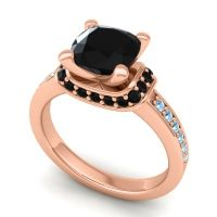 Halo Cushion Aksika Black Onyx Ring with Aquamarine in 14K Rose Gold