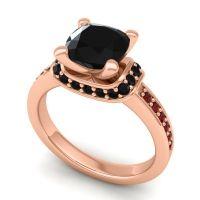 Halo Cushion Aksika Black Onyx Ring with Garnet in 14K Rose Gold