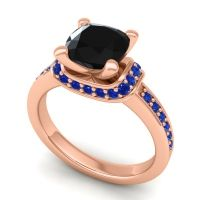 Halo Cushion Aksika Black Onyx Ring with Blue Sapphire in 18K Rose Gold