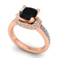 Halo Cushion Aksika Black Onyx Ring with Diamond and Swiss Blue Topaz in 14K Rose Gold